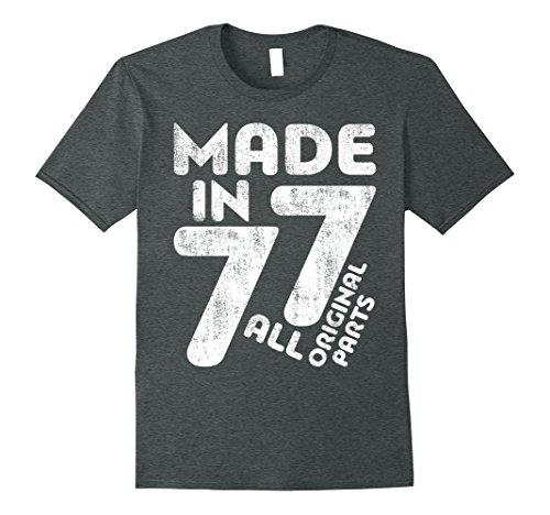 Mens Made In 1977 T-Shirt Funny 40th Birthday Gift Shirt XL Dark Heather