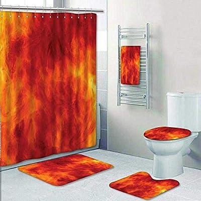 Terrific Amazon Com Amapark 5 Piece Bathroom Set Orange Decor Home Interior And Landscaping Ponolsignezvosmurscom