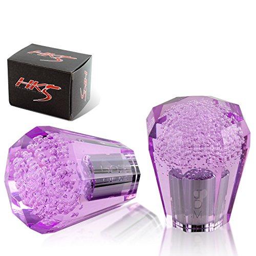 HK5 Universal JDM Crystal/Octagonal Style 60mm Transparent Purple Bubble shift knob ()