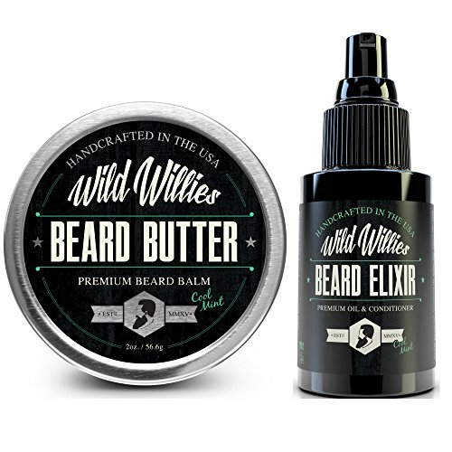 Beard Oil and Balm Conditioner Cool Mint - Mens Gift Set Developed For Beard and Mustache Growth Softens and Prevents Itchy Dry Skin. Made in the USA with Locally Sourced Essential (Cool Mountain Mint Tea)