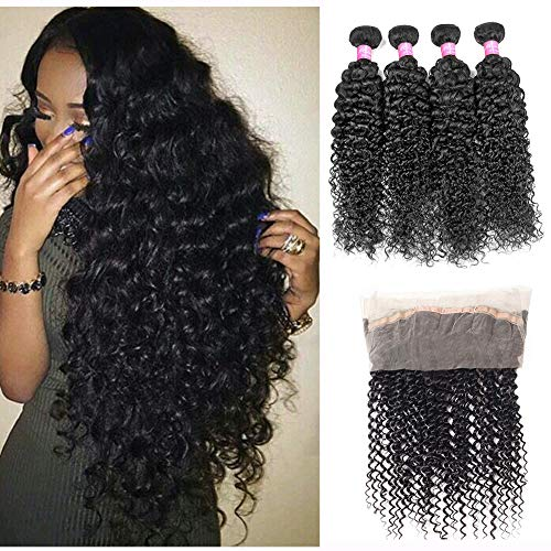 Mink Hair Brazilian Curly with 360 Frontal (14 16 18+12) 7A Grade Kinkys Curly Hair Bundles Virgin Human Hair Extensions with 360 Free Part Lace Frontal Closure Natural Color]()