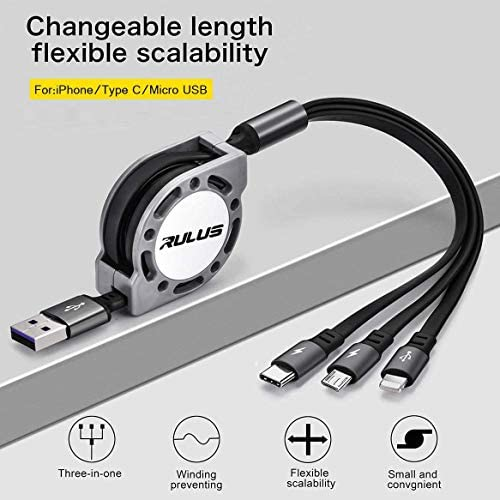 Halli Quin USB Round Three-in-One Material Data ABS Cables Multi USB Charger CableRetractable Multiple Fasts Chargings Data line Protective Case