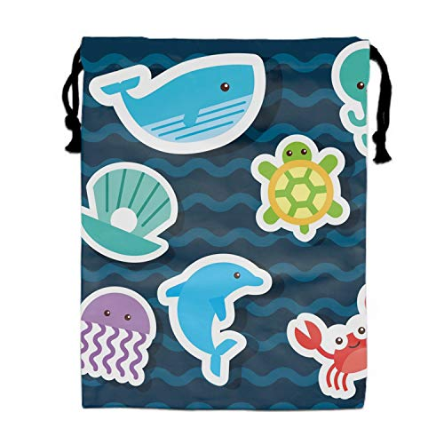 Packing Organiser Sea Life Icons Set Flat Draw Drawstring Bags for Travel, Luggage Bag Toiletry Pouch Sea Life Icons Set Flat Draw