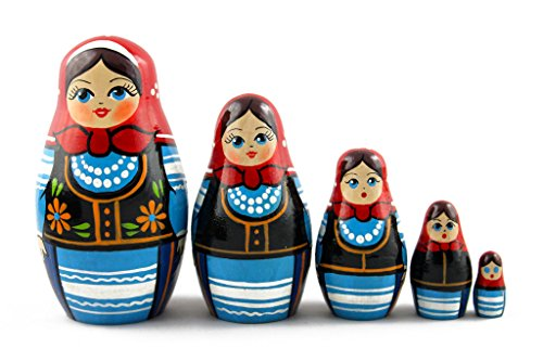 Costume Children's National Polish (Matryoshka Matrioska Babuska Russian Nesting Wooden Doll Polish National Costume 5 Pcs Stacking Hand Painting Beautiful Nested Great Craft Matriosjka Matrioska Matreshka Matrjoska)