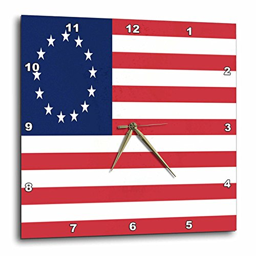 3dRose DPP_50163_3 13 Colonies Betsy Ross Flag Wall Clock, 15 by 15-Inch