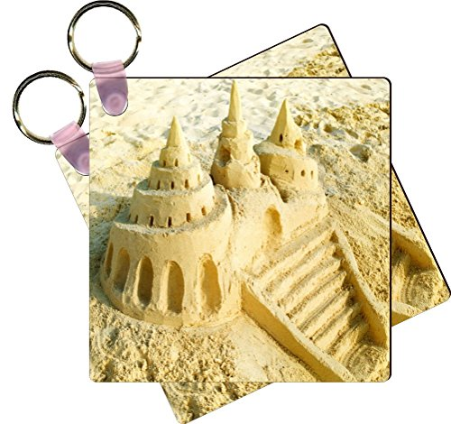 Castle Design Keychain - Rikki Knight Sand Castle On The Beach Design Square Shaped Key Chains - Identifier Tags (Set of 6)