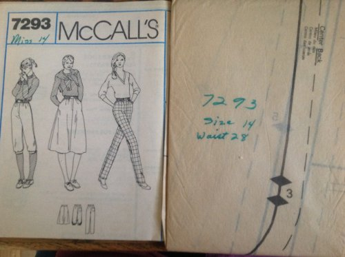 (Mccalls 7293 Sewing Pattern Pants Knickers or Slirt with Front Fly Zip & Elastic-side-front Waistband in Misses)