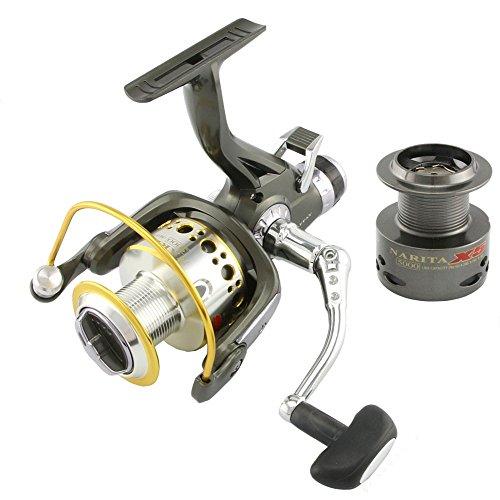NARITA X5 Surf Fishing Reels Smooth Metal Carp Spinning Reel 10 BB Bait Runner Fishing Wheel + Spare spool (X5-5000 Series)