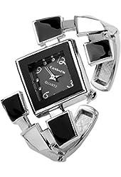 Top Plaza Fashion Women's Bangle Cuff Bracelet Analog Watch, Silver Tone