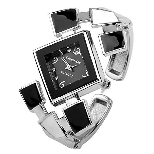 Top Plaza Womens Casual Elegant Silver Tone Rhombus Face Bangle Cuff Bracelet Dress Quartz Watch 6 '',Thanksgiving Christmas Gift,Black (Quartz Bracelet Bangle Watch)