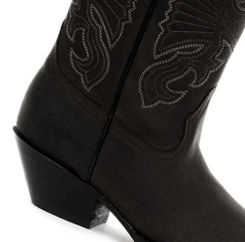 Boots High Unisex Western Pointed Toe Buffalo Black Leather Grinders XqH4gW
