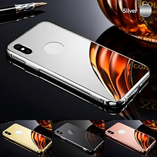 Aluminum Metal Bumper Mirror Back Case Cover for iPhone X Luxury Frame Ultra Thin Acrylic Back Cover Color,Black,Pink,Gold,Silver (Silver)