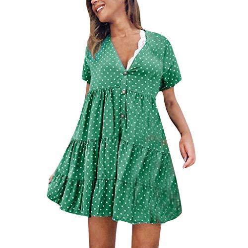 Women's Sexy Fashion V-Neck Polka Dot Printed Short-Sleeved Dress Green -
