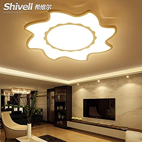 Cttsb Chiville Creative Living room lamp simple modern main bedroom LED ceiling lamp flower type ultra-thin restaurant lamps, 55cm warm light - - Amazon.com
