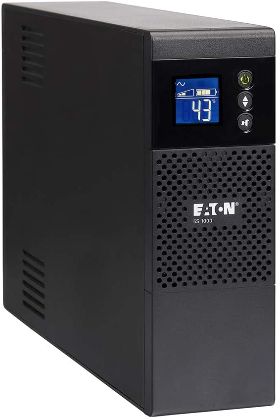 Eaton 5S1000LCD UPS Battery Backup & Surge Protector, 1000VA / 600W, AVR, LCD Display, Line Interactive Uninterruptible Power Supply