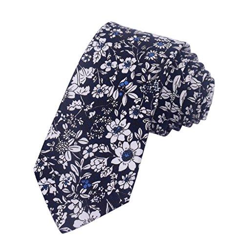 - Kissvian Men's Skinny Tie Floral Printed Pure Cotton Necktie, 2.36 inch