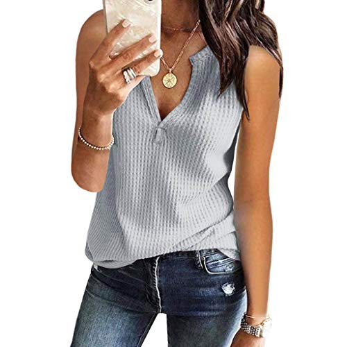 Solid Waffle Knit Vest, QIQIU Womens Summer Fashion V Neck Sexy Sleeveless Loose Fitting Plus Size Tee Tops Grey ()
