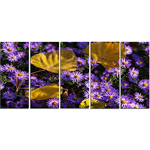 Little Flowers 5 (Design Art 5 Panels Little Purple Flowers and Yellow Leaves Modern Canvas Art Print, 60 x 28