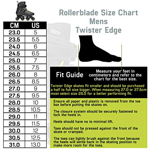 Rollerblade Twister Edge Men's Adult Fitness Inline Skate, Black and Yellow, High Performance Inline Skates by Rollerblade (Image #4)