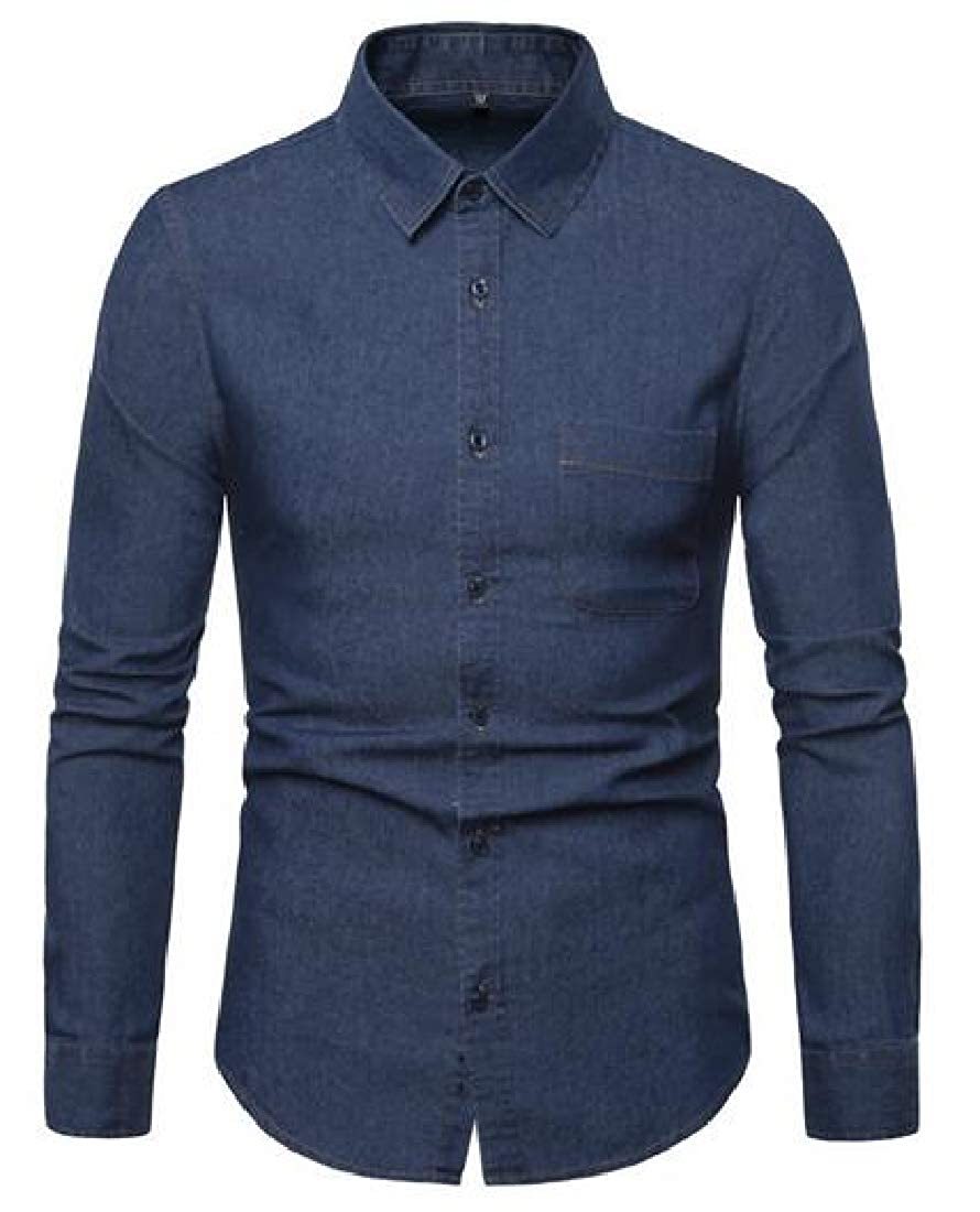 UUYUK Men Washed Slim Fit Casual Business Long Sleeve Button Down Denim Work Western Shirt