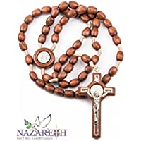 Wood Beads Catholic St. Benedict Rosary Holy Land Necklace Handmade Jerusalem