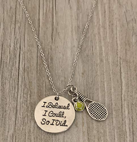 Sportybella Tennis Necklace, Tennis I Believed I Could So I Did Charm Pendent, Tennis Player Jewelry - Tennis Gift for Her