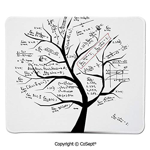 Non-Slip Rubber Base Mousepad,Math Tree Branches Complex Formulas Solution Knowledge Decorative,for Laptop,Computer & PC (11.81