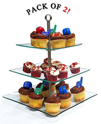 Imperial Home Stylish Glass Cupcake Stand - 3 Tier Desert / Cake Stand Party Display - pack of 2