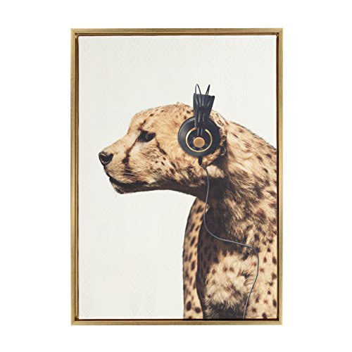 Whimsical Portrait Framed (Kate and Laurel - Sylvie Cheetah Wearing Headphones Animal Portrait Framed Canvas Wall Art by F2 Images, 23 x 33 Gold)