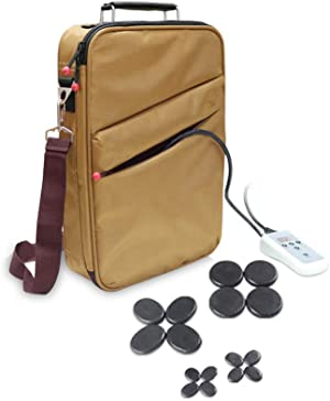 Goodtar Portable Hot Stones Warmer Set Spa Salon Massage Digital Electric Heater Kit with 16 Basalt Stones