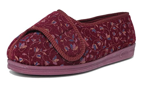 Womens EEEE Super Wide Fit Velcro Comfort Comfylux Slippers Orthopaedic Size 3-9 LAVrNY4b
