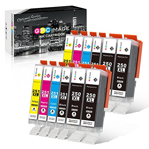 GPC Image Compatible Ink Cartridge Replacement for Canon 250XL 251XL to use with Pixma MX922 MG7520 MG5520 MG5420 MG6620 IP8720 iX6820 MG5620 Printer (4 PGBK,2 Black,2 Cyan,2 Magenta,2 Yellow,12 Pack) by GPC Image