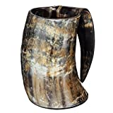 AleHorn – The Original Handcrafted Authentic Viking Drinking Horn XXL 1 Liter Tankard for Beer, Mead, Ale – Medieval Inspired Stein Mug – Food Safe Vessel With Handle