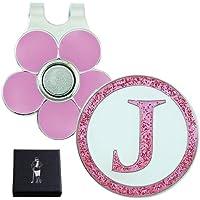 """Sparkly Pink Initial """"J"""" Visor Clip Set"""