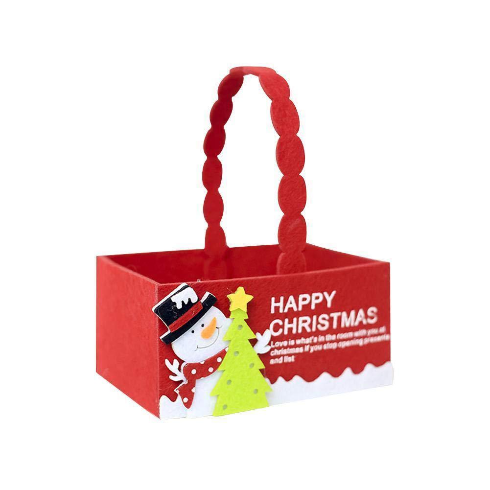 wsloftyGYd Christmas Santa Elk Snowman Candy Box Handle Gift Bag Basket Party Decoration Christmas Fabric Candy Storage Box Christmas Creative Flannel Storage Box Mini Gift Tote Box Elk