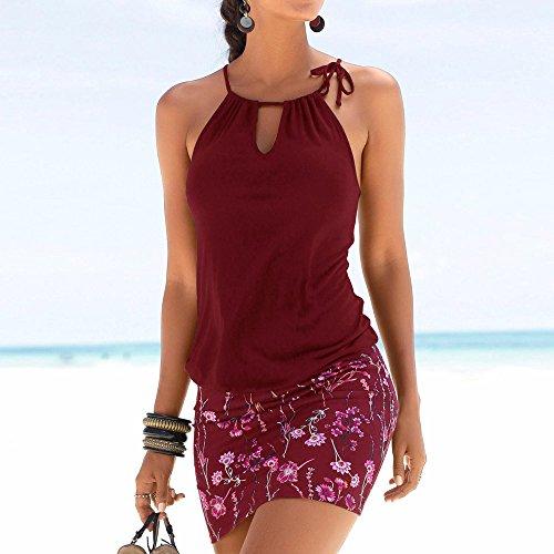 Summer Retro Print Dress Abbigliamento Kinlene Shirts Women rosso Beach Casual Women Vino maniche Party T Gilet Girl Dress Gonna senza Mini dz8qx8