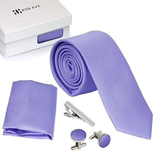 Bundle Monster Mens Skinny Tie Necktie 4pc Set Accessory for Weddings Lavender