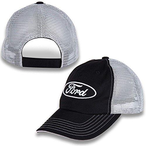 - Checkered Flag Ford Oval Logo Black Gray Mesh Trucker CFS Adjustable Slouch Hat/Cap