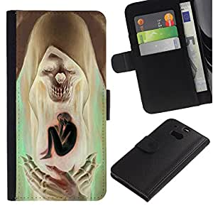 All Phone Most Case / Oferta Especial Cáscara Funda de cuero Monedero Cubierta de proteccion Caso / Wallet Case for HTC One M8 // Saint Skull Death Green Brown Man