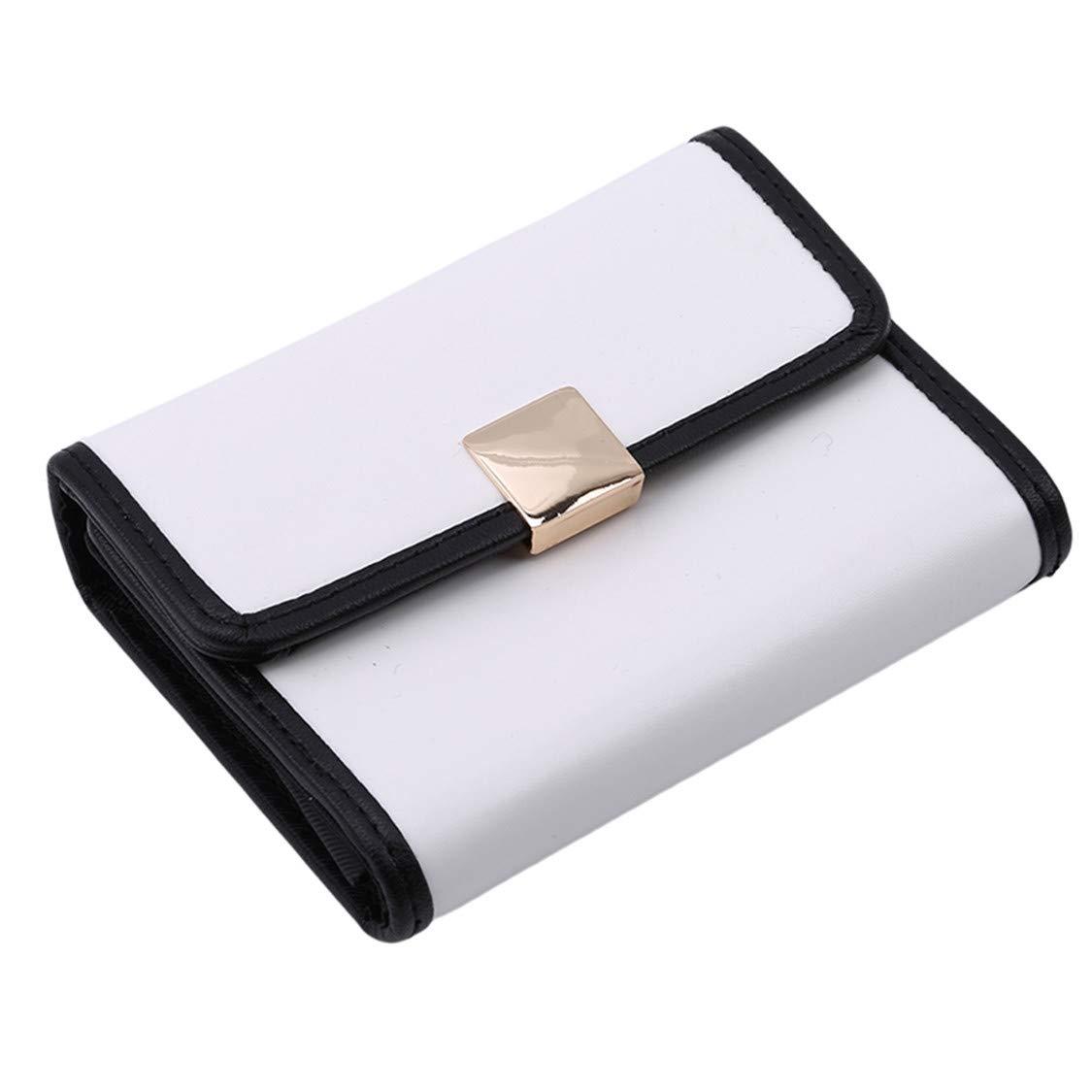 Idiytip Porte-Monnaie pour Portefeuille Court en Cuir PU pour Femmes, Blanc