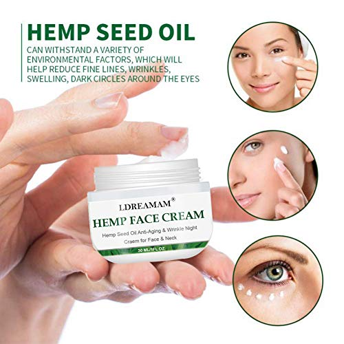 51Ih3JWaRYL - Hemp Cream, Face moisturizer Cream, Anti-Wrinkle And Fine Lines, Anti-Aging Hemp Oil Day Face And Neck Cream, Collagen Boosting, Relieves Inflammation