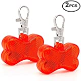 Higo Dog Collar Light, Safety LED Dog Tag for Night Walking, Glow Up Dog Lights for Collar Makes Your Small Medium Large Dogs& Cats Be Seen& Safe at Night (Red/Bone Shaped)