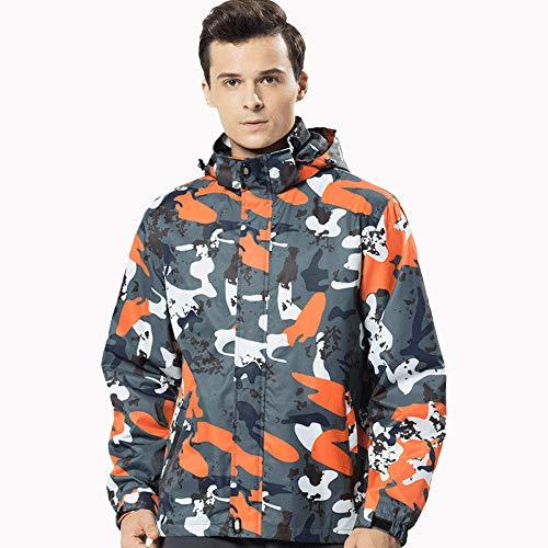 (Men's Winter with Cap Soft Shell Waterproof Windproof Outdoor Assault Coat Jackets Orange)