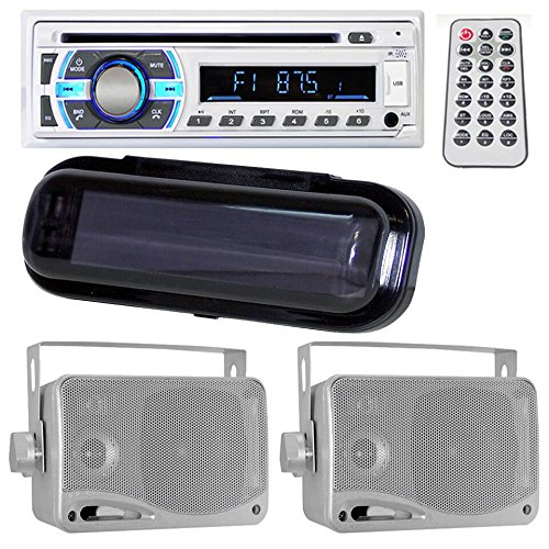 Lectronify Marine Bluetooth Stereo Radio Headunit Receiver with Pair of 3.5'' 200 Watt 3-Way Weather Proof Mini Box Speakers, Black Water Resistant Radio Shield