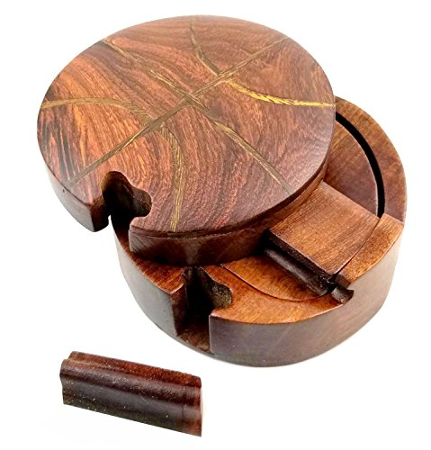 Oberstuff.com Basketball All Natural Exotic Woods Puzzle Box, 4 x 4 x 2 with Sliding Wooden Key Lock, Sliding Cover and Inner Lid to Hidden Compartment. Hand-Made Wood Onlay Design on Lid.
