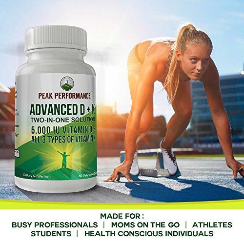 ADVANCED Vitamin D 5000 IU + ALL 3 Types Of Vitamin K By Peak Performance. Vitamin D3 and Vitamin K2 MK-7 (MK7) K2 MK4 K1 Supplement! 60 Small & Easy to Swallow Vegetable Capsules / Pills (5000 IU) by Peak Performance Coffee (Image #6)