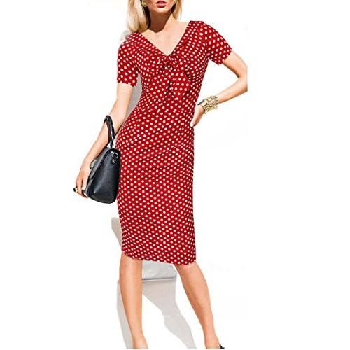 Top Chorchi Women's V-Neck Sheath Dress Dot Bowknot Bodycon Dresses hot sale