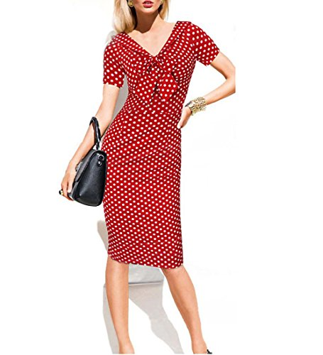 Chorchi Red White Dots Print Pencil Dress Sexy Body-Con Clubbing Dress (Large, Red)