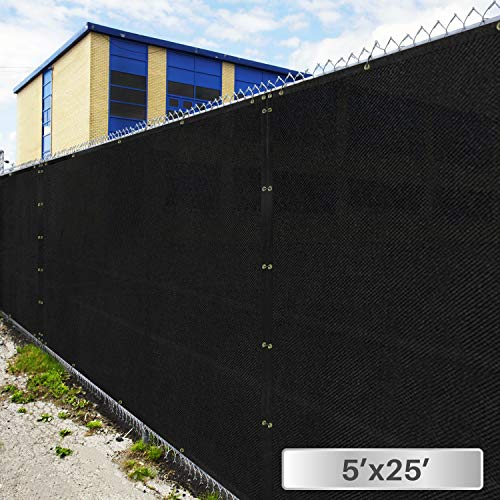 5' x 25' Privacy Fence Screen in Black with Brass Grommet 85% Blockage Windscreen Outdoor Mesh Fencing Cover Netting 150GSM Fabric - Custom