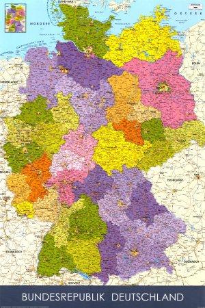 Amazon.de: Germany Map German Language -Grande PaPIER- poster-poster ...